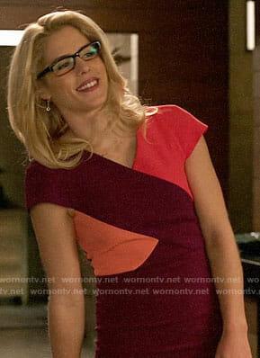 Felicity's purple and pink colorblock dress on Arrow