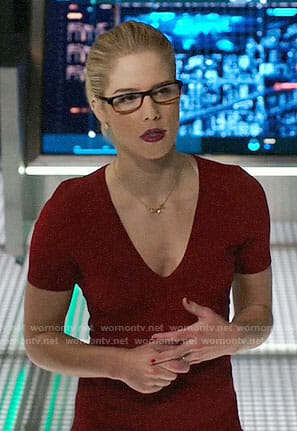 Felicity's red v-neck dress on Arrow