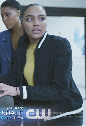 Jennifer's black eyelet bomber jacket on Black Lightning