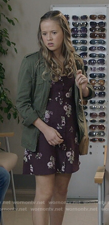 Sam's burgundy button front floral print dress on Life in Pieces