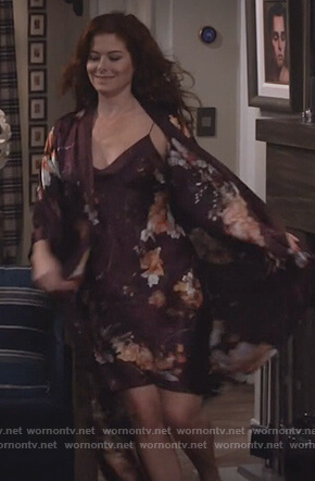 Grace's floral print chemise and robe on Will and Grace