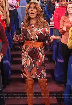 Wendy's multi-colored floral print dress on The Wendy Williams Show