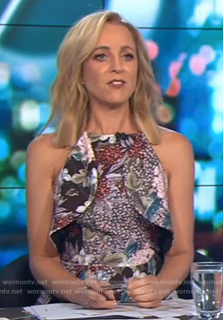 Carrie's floral print ruffle front dress on The Project