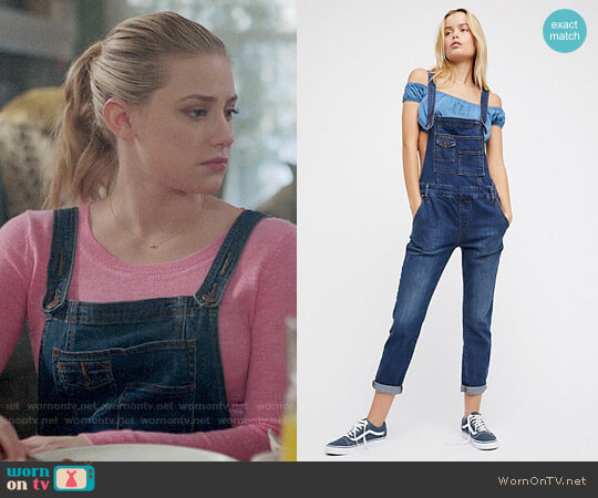 Free People Washed Denim Overalls worn by Lili Reinhart on Riverdale