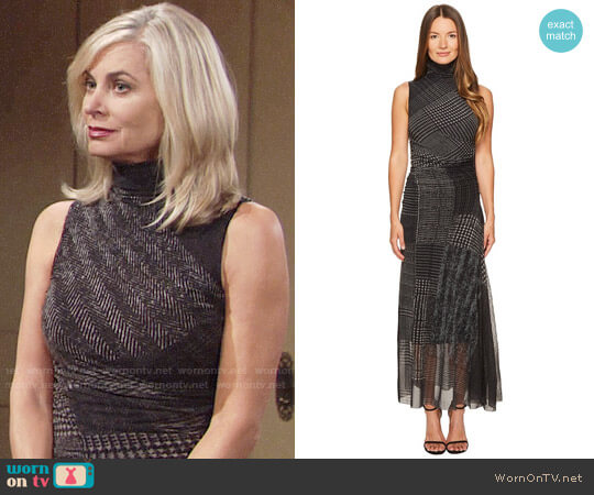 Fuzzi Turtleneck Sleeveless Menswear Tulle Dress worn by Ashley Abbott (Eileen Davidson) on The Young & the Restless
