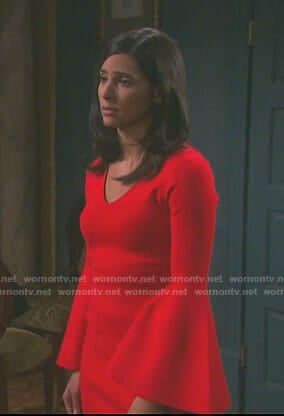 Gabi's red bell sleeve mini dress on Days of our Lives