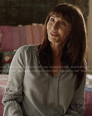 Gail's embroidered chambray top on Last Man on Earth
