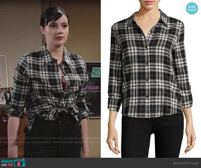 Generation Love Roberta Lace Up Plaid Shirt worn by Tessa Porter (Cait Fairbanks) on The Young & the Restless