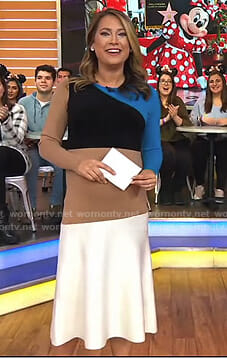 Ginger's colorblock long sleeve dress on Good Morning America