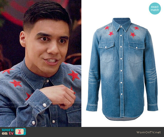 Givenchy Denim Star Embroidered Shirt worn by Vivek Shah (Jordan Buhat) on Grown-ish
