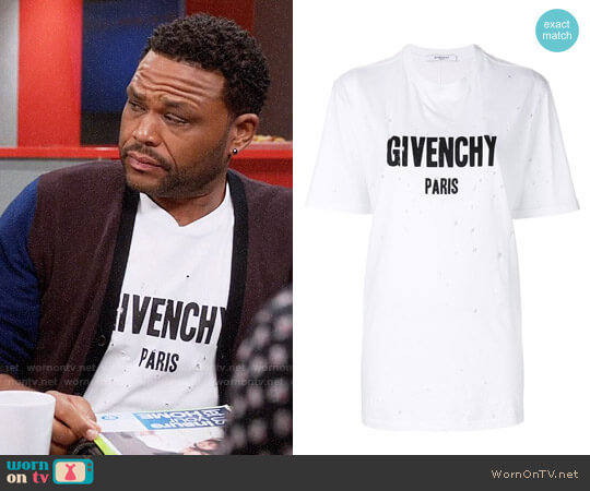 Givenchy Distressed Logo T-shirt worn by Anthony Anderson on Blackish