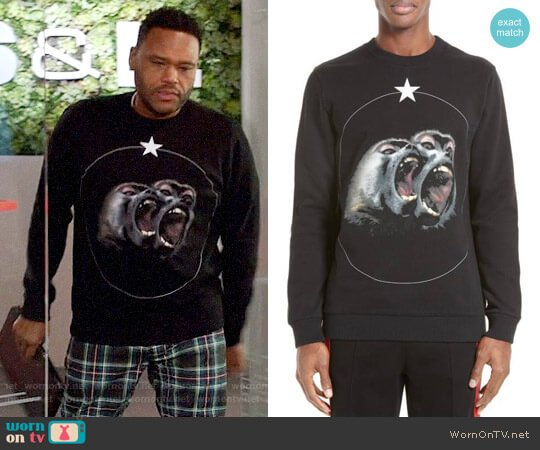 Givenchy Monkey Brothers Graphic Sweatshirt worn by Anthony Anderson on Blackish