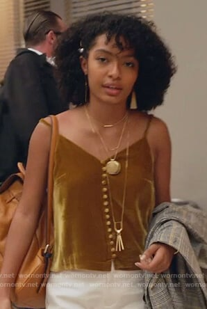 Zoey's gold velvet cami on Grown-ish