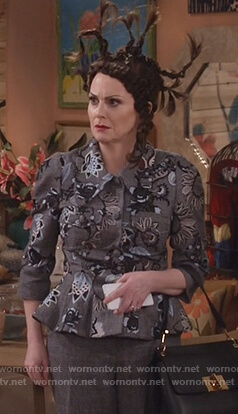 Karen's gray floral embroidered peplum jacket on Will and Grace