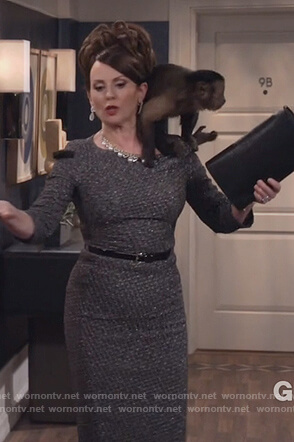 Karen's gray metallic sheath dress on Will and Grace
