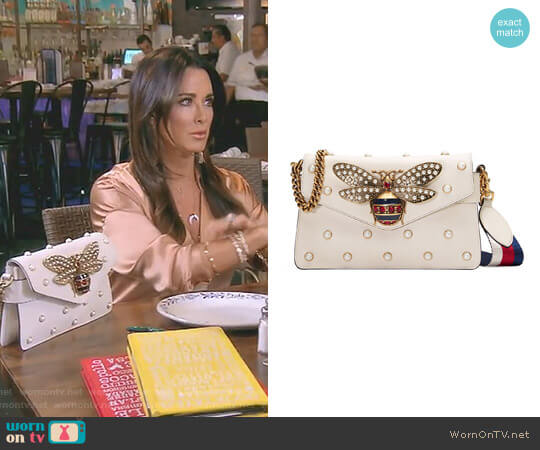 Broadway Leather Clutch by Gucci worn by Kyle Richards (Kyle Richards) on The Real Housewives of Beverly Hills