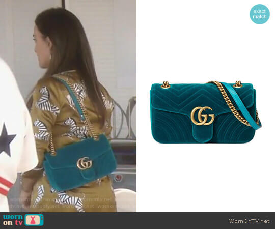 GG Marmont Velvet Shoulder Bag by Gucci worn by Kyle Richards  on The Real Housewives of Beverly Hills