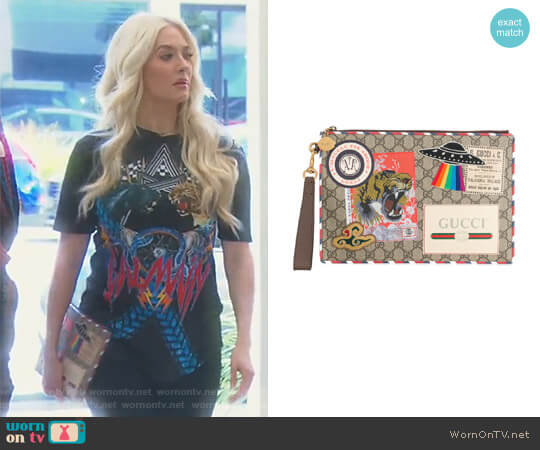GG Supreme Applique Pouch by Gucci worn by Erika Girardi on The Real Housewives of Beverly Hills