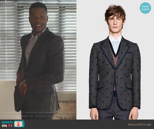Heritage Flannel Jacket with Bees by Gucci worn by Sam Adegoke on Dynasty