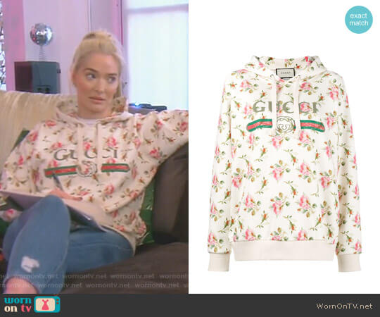 Rose Print Fake Logo Hoodie by Gucci worn by Erika Girardi  on The Real Housewives of Beverly Hills
