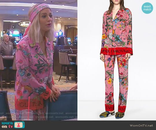 Flora Snake Print Silk Pajamas by Gucci worn by Dorit Kemsley  on The Real Housewives of Beverly Hills