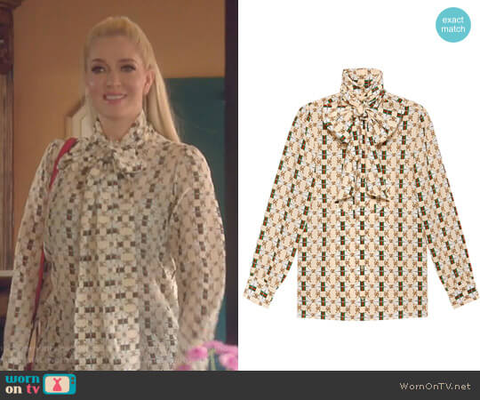 Silk shirt with Web GG Print by Gucci worn by Erika Girardi  on The Real Housewives of Beverly Hills