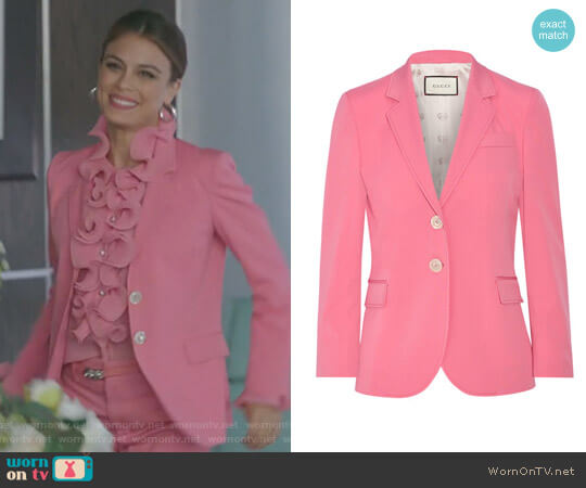 Stretch Wool and Silk-Blend Blazer by Gucci worn by Cristal Flores (Nathalie Kelley) on Dynasty