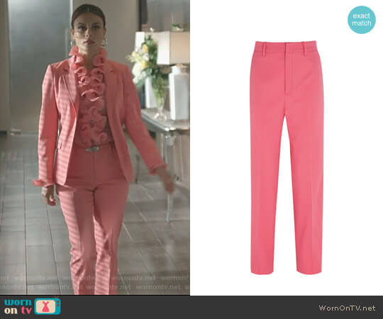 Stretch Wool and Silk-Blend Straight-Leg Pants by Gucci worn by Cristal Flores (Nathalie Kelley) on Dynasty