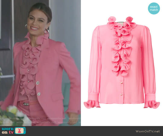 Frill Embroidered Blouse by Gucci worn by Nathalie Kelley on Dynasty