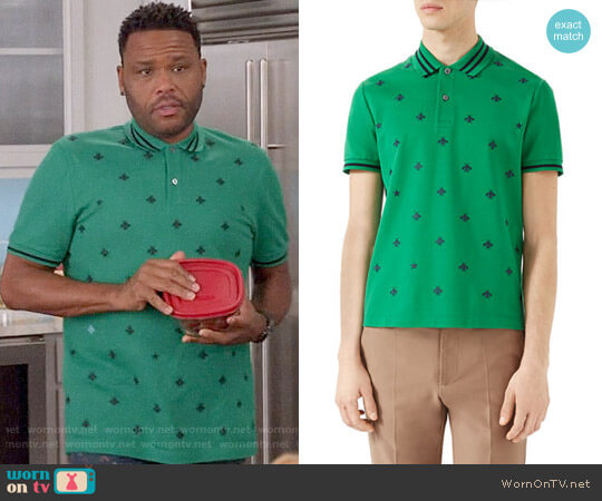 Gucci Cotton Polo w/Bees & Stars worn by Andre Johnson (Anthony Anderson) on Blackish