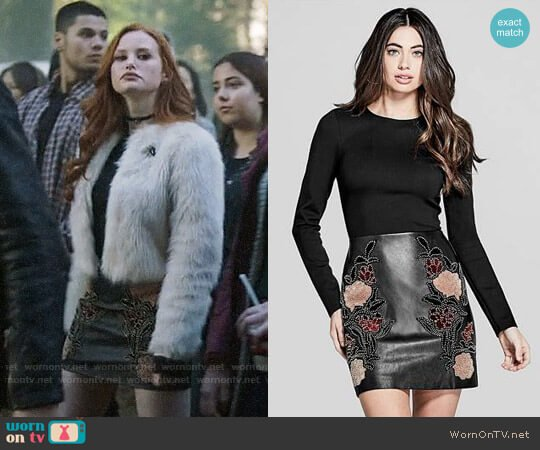 Marciano Hayden Faux Leather Dress worn by Madelaine Petsch on Riverdale