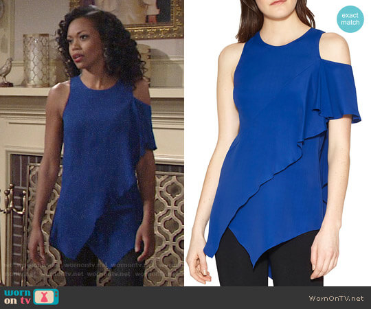 Halston Heritage Ruffle Cold-Shoulder Top worn by Hilary Curtis (Mishael Morgan) on The Young & the Restless