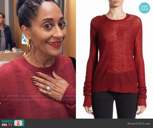 Helmut Lang Stitched Striped Pullover worn by Rainbow Johnson (Tracee Ellis Ross) on Blackish