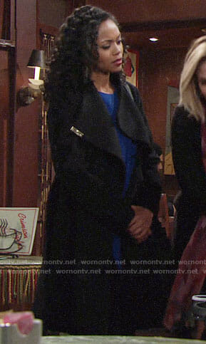 Hilary's black coat on The Young and the Restless