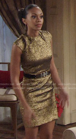 Hilary's gold NYE dress on The Young and the Restless
