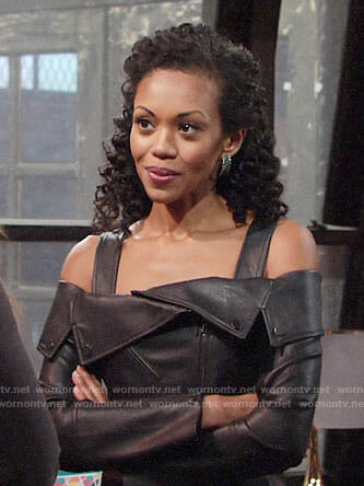 Hilary's leather off-shoulder moto jacket on The Young and the Restless