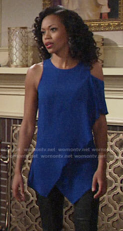 Hilary's blue one-shoulder top on The Young and the Restless
