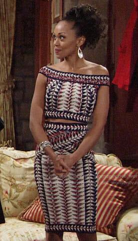Hilary's triangle print crop top and skirt on The Young and the Restless