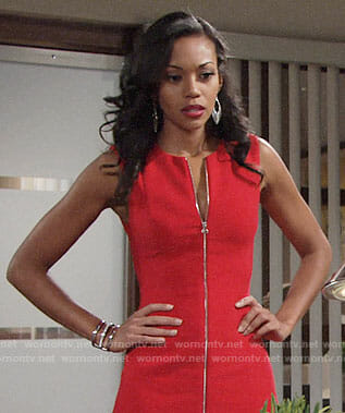 Hilary's red zip-front dress on The Young and the Restless
