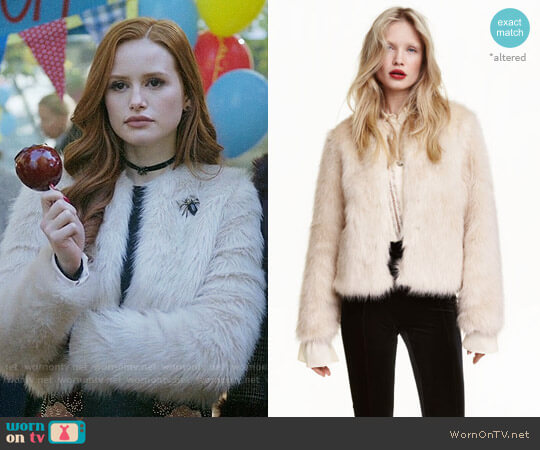 H&M Faux Fur Jacket worn by Cheryl Blossom (Madelaine Petsch) on Riverdale