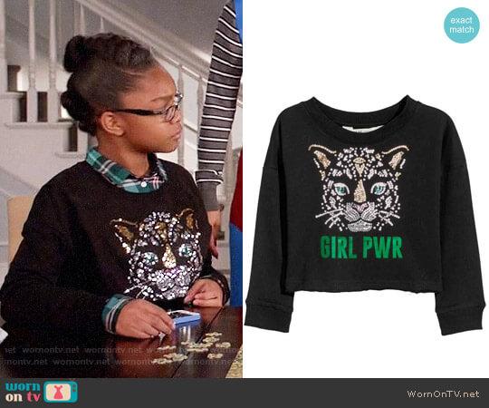 Printed Sweatshirt by H&M worn by Diane Johnson (Marsai Martin) on Blackish
