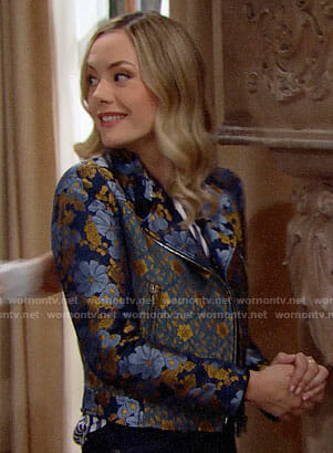 Hope's blue floral moto jacket on The Bold and the Beautiful