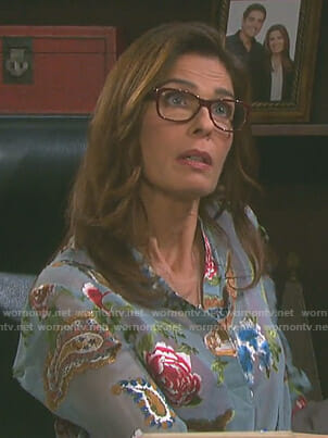 Hope's blue floral paisley blouse on Days of our Lives