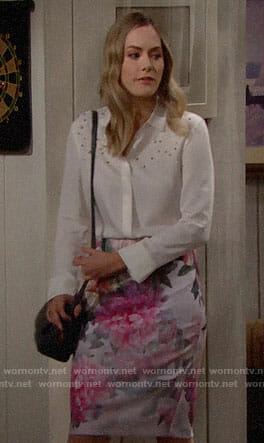 Hope's white pearl embellished top and floral skirt on The Bold and the Beautiful