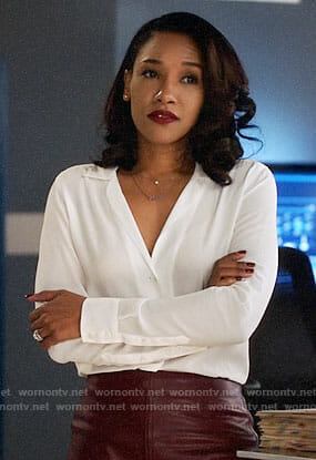 Iris's white blouse and leather pencil skirt on The Flash