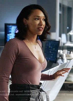 Iris's purple long sleeved top on The Flash