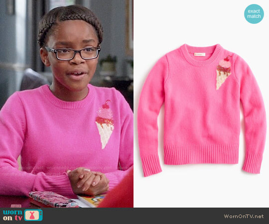 J. Crew Girls' Sequin Ice Cream Sweater worn by Marsai Martin on Blackish