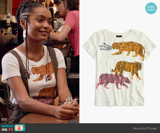 J. Crew Tigers T-shirt worn by Yara Shahidi on Grown-ish