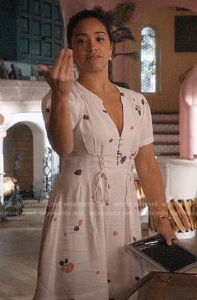 Jane's white floral dress with lace-up detailing on Jane the Virgin