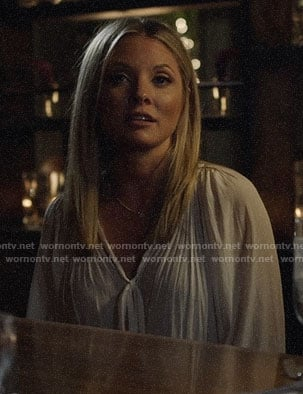 Jessie's white tie-neck blouse on Nashville